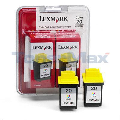 LEXMARK X4250 NO. 20 PRINT CART COLOR TWIN PACK